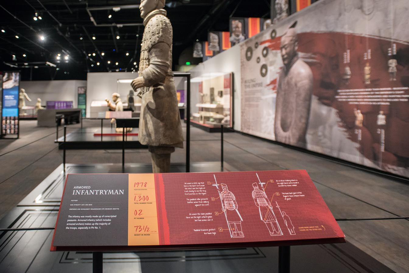 Final install of the Terracotta Warrior platform and exhibit graphics