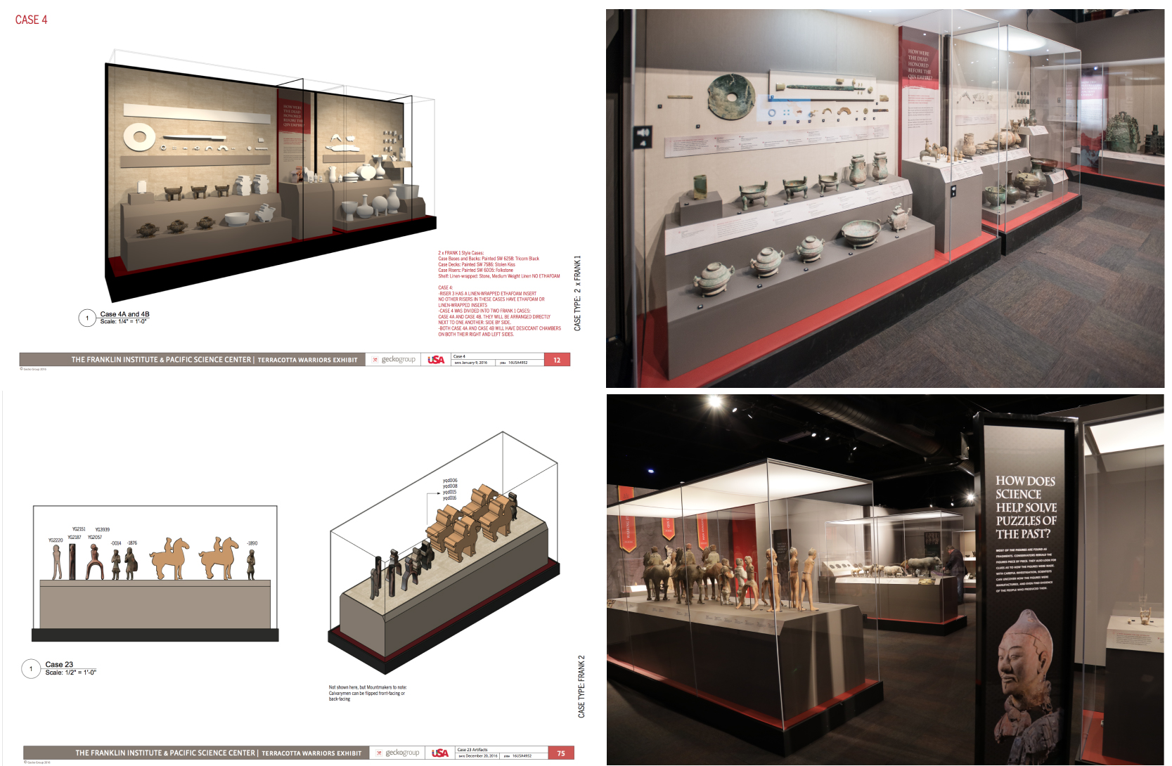 3d rendering of exhibit cases for Terracotta Warriors