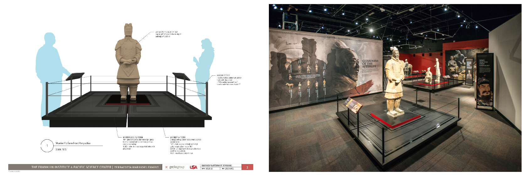 3d rendering of a climate controlled exhibit platform for Terracotta Warriors